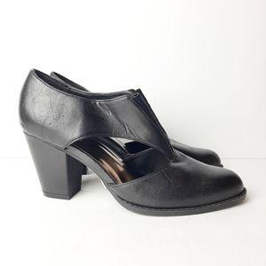 New York Transit Leather Heel Booties Black 8.5
